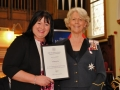 Sarah receiving award from Dr. Ingrid Roscoe FSA, Lord Lieutenant of West Yorkshire